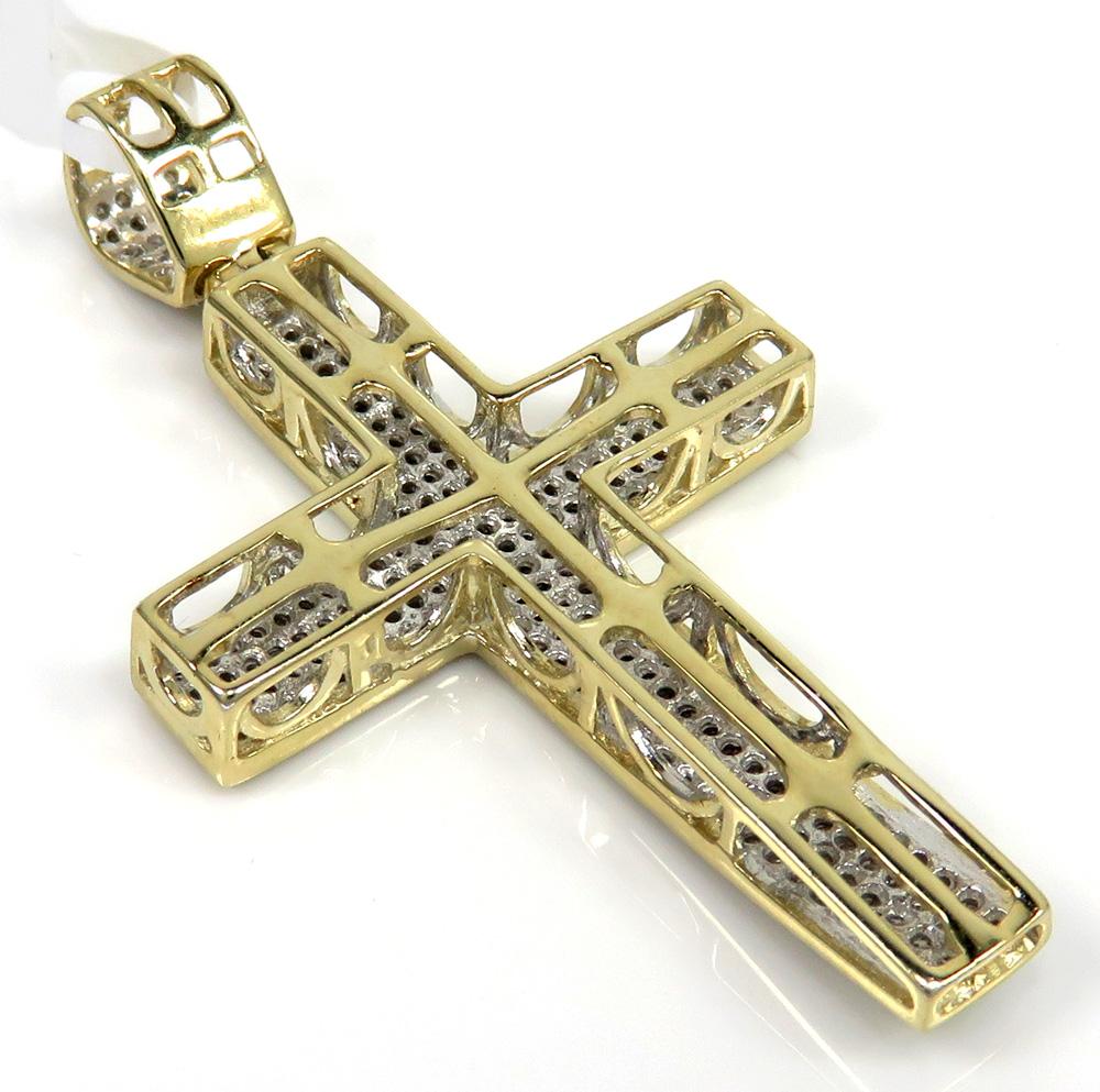 10k yellow gold 4 row diamond cross pendant 0.89ct