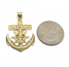14k yellow gold medium anchor jesus pendant