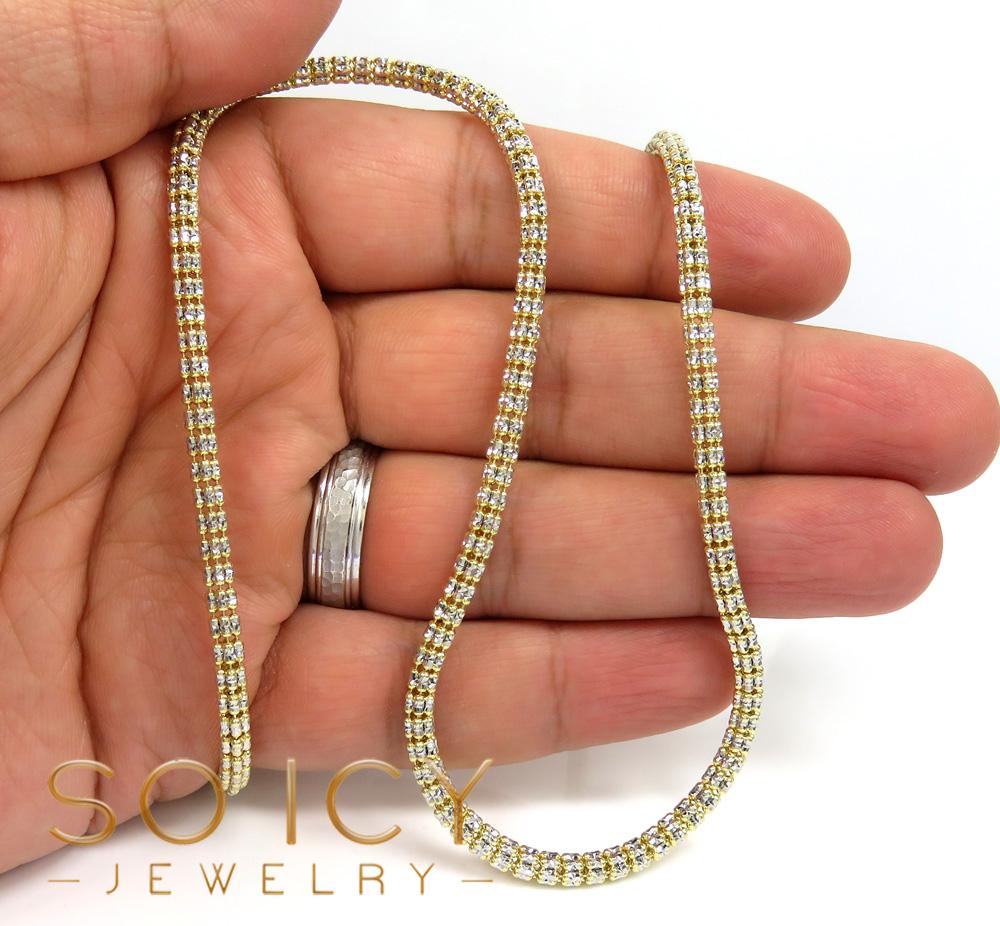 10k two tone gold diamond cut ice link chain 18-26