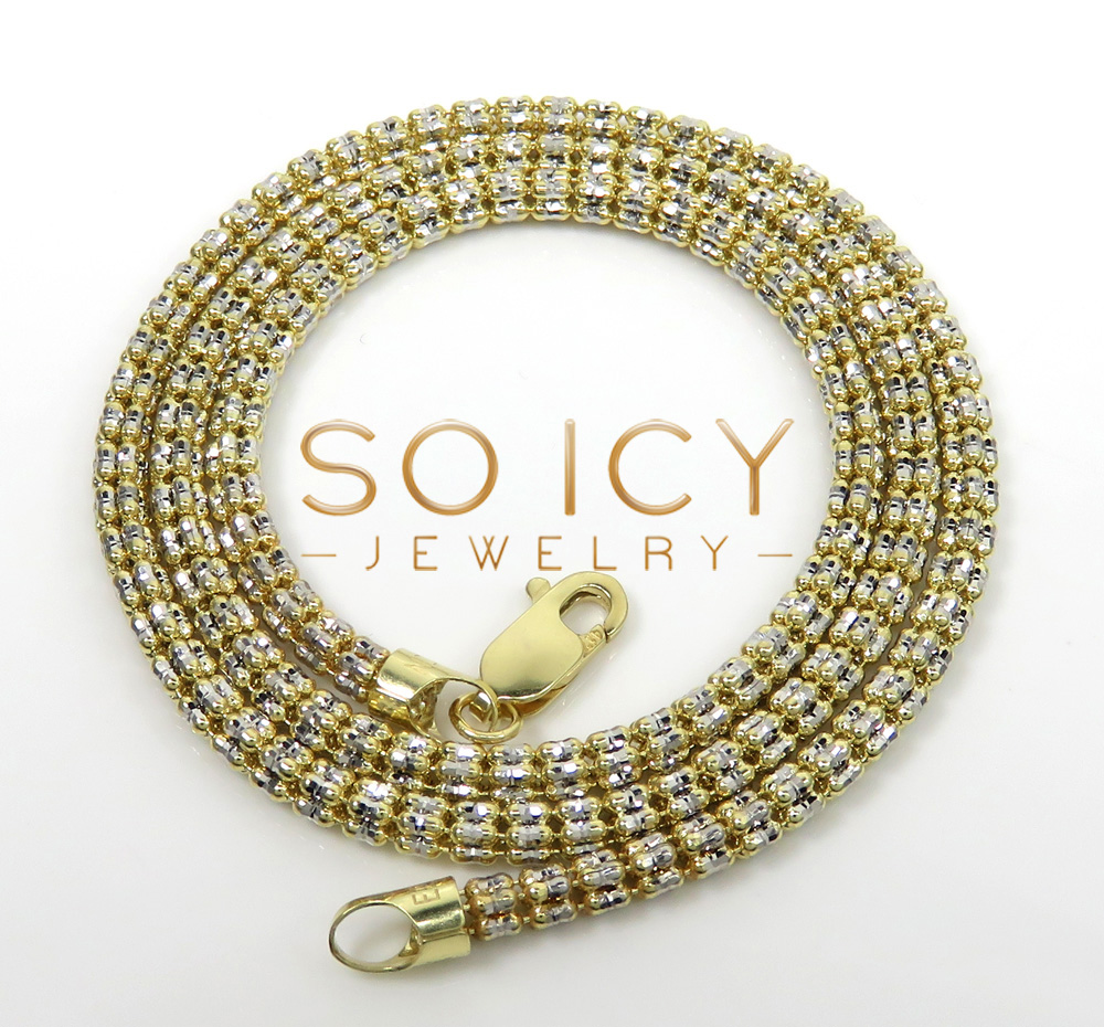 10k two tone gold diamond cut ice link chain 16-26