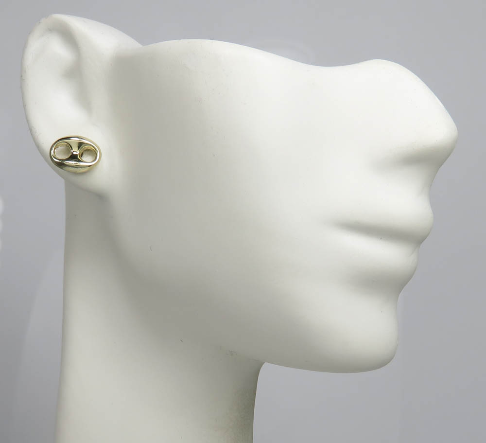 14k yellow gold puffed 7.50mm gucci style link earrings