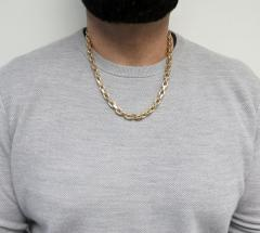 14k yellow gold semi solid hermes link chain 24 inches 9mm