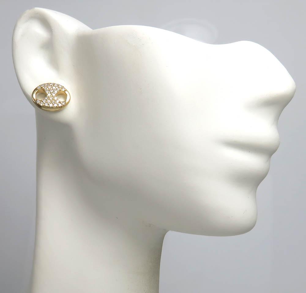 14k yellow gold single small diamond gucci puffed link earring 9mm 0.50ct
