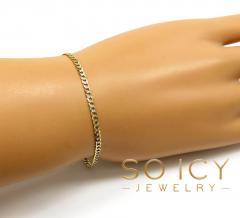 10k yellow gold diamond cut cuban bracelet 8 inch 2.5mm