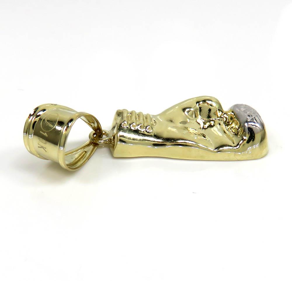 10k two tone gold  diamond cut small boxing glove pendant