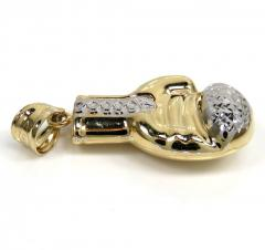 14k yellow gold two tone small diamond cut 3-d boxing glove pendant