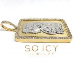 10k two tone gold xxl lady fortuna 2 row diamond pendant 11.35ct