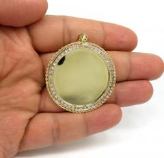 10k yellow gold large rope frame cz picture pendant 1.75ct