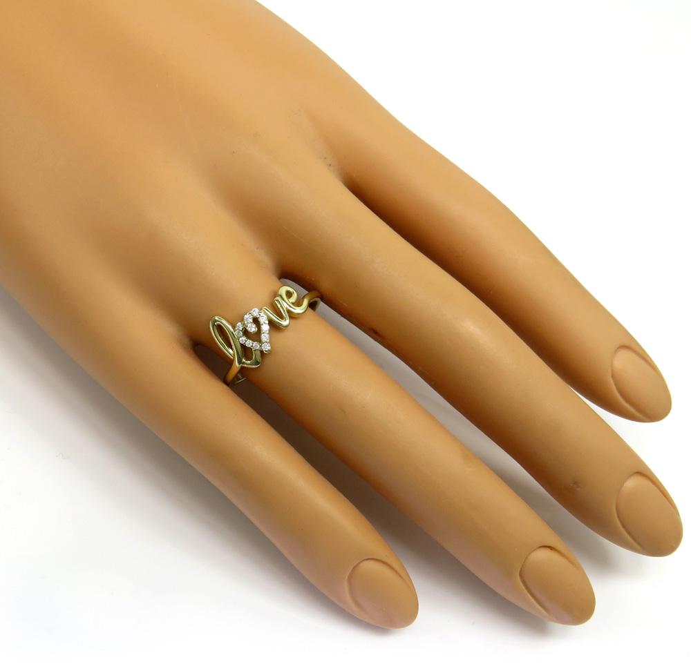 10k gold diamond heart love ring 0.12ct