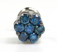 14k solid gold blue diamond 7mm single cluster earrings 0.50ct