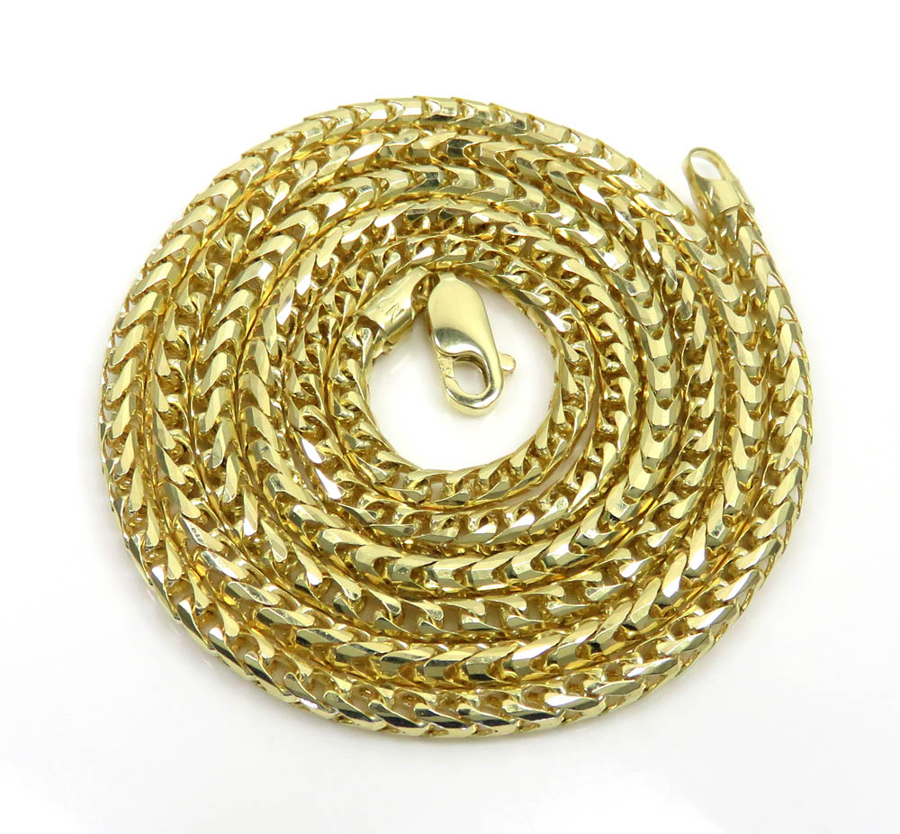 10k yellow gold solid diamond cut franco chain 20-26 inch 3mm