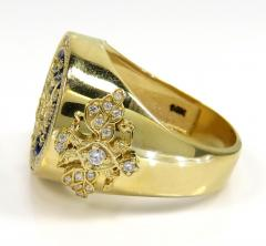 14k gold blue enamel diamond russian eagle ring 1.75ct