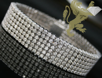 12.60ct 14k Solid White Gold Diamond '6 Row Carter' Bracelet