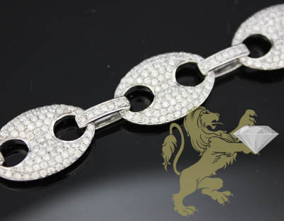 8.30ct 14k White Gold Diamond 'pave Gucci Link Bracelet'