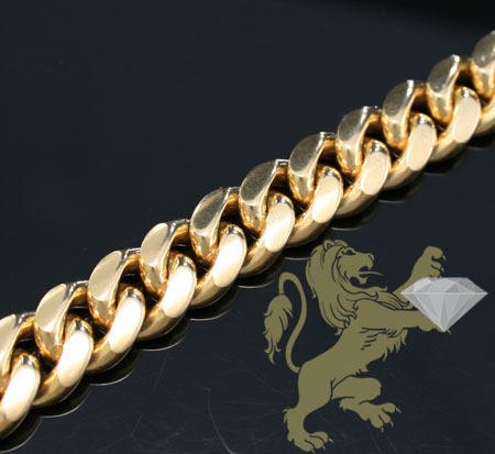 14k Solid Yellow Gold 'miami Bracelet' 9 Inch 11.40mm