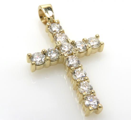 1.05ct 18k Solid Yellow Gold 'white Round Xl Diamond' Mini Cross