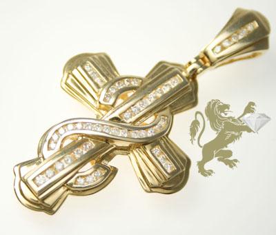 0.75ct 14k Solid Yellow Gold Round Diamond 'figure 8 Center' Cross