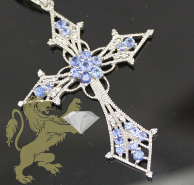 1.45ct 14k White Gold Diamond 'blue Sapphire Cross'