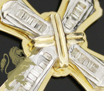 0.50ct 14k Yellow Gold Diamond 'mini Baguette Cross'
