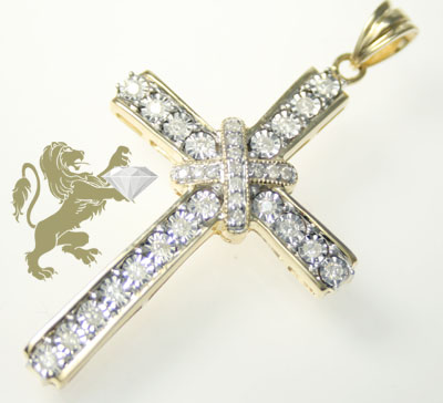 0.80ct 10k Solid Yellow Gold Round Diamond 'diamond Cut Frame Cross'
