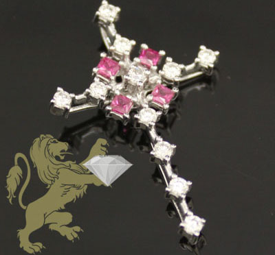 0.65ct 14k White Gold Diamond 'sapphire & Diamonds' Cross