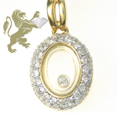 0.50ct Ladies 14k Solid Yellow Gold 'round Floating Diamond Oval Pendant'