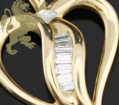 0.35ct 14k Yellow Gold Diamond 'mini Baguette Heart' Pendant