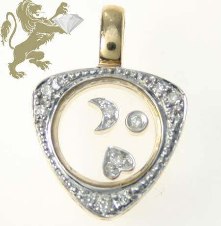 0.25ct Ladies 14k Solid Yellow Gold 'round Floating Diamond Traingle Pendant'