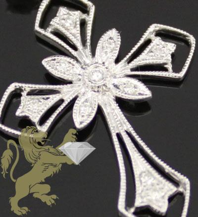 0.10ct 14k Solid White Gold Diamond 'classic Mini' Cross