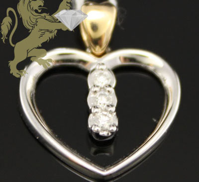0.08ct 14k Two Tone Gold Diamond '3 Stone Heart' Pendant