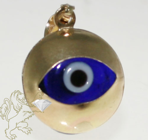 14k Solid Yellow Gold Dark Blue Evil Eye Pendant