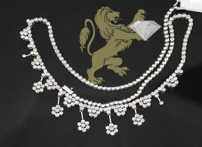 3.00ct 14k White Gold Diamond 'cluster Flower Necklace'