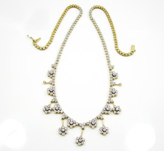 14k Yellow Gold Cluster Flower Diamond Necklace 3.00ct