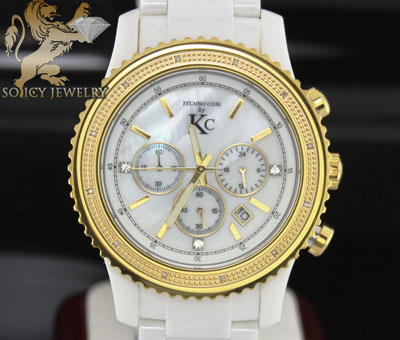 0.15ct Techno Com By Kc Diamond Watch 'white Ceramic'