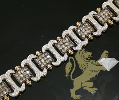 4.00ct 14k Yellow Gold 'champagne & White Diamond' Bracelet