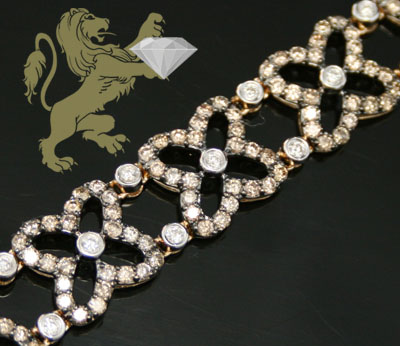 6.00ct 14k Yellow Gold 'champagne & White Diamond' Bracelet