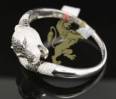 9.15ct 18k White Gold Diamond 'cougar Head' Bracelet