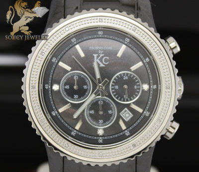 0.15ct Mens Techno Com By Kc Diamond Watch 'black Ceramic'