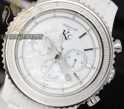 0.15ct Mens Techno Com By Kc Diamond Watch 'white Ceramic'