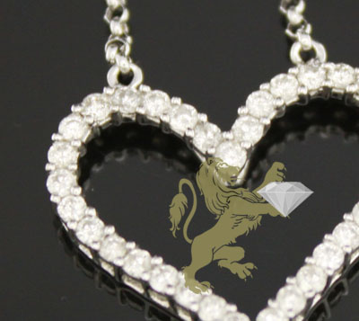 0.70ct 18k White Gold Diamond 'heart Pendant & Necklace'