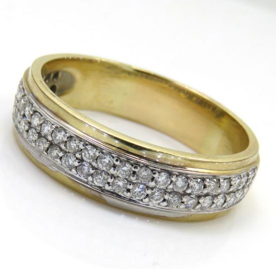 0.75ct 14k Yellow Gold '2 Row Round Diamond Band'