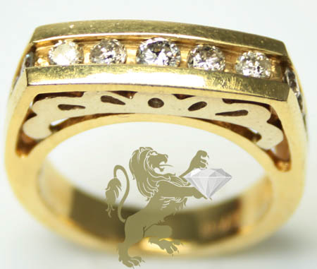 0.90ct Ladies 14k Solid Yellow Gold 'round Diamond Channel Square Band'