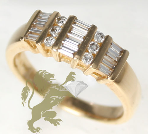 0.50ct Ladies 14k Solid Yellow Gold 'baguette & Round' Band