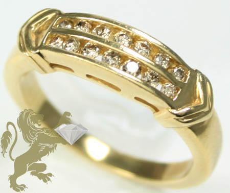0.30ct Ladies 14k Solid Yellow Gold 'dual Row Round Diamond Band'