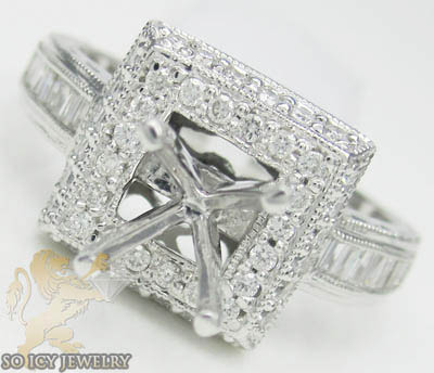 0.75ct 14k White Gold 'baguette Diamond Square Semi Mount Ring'