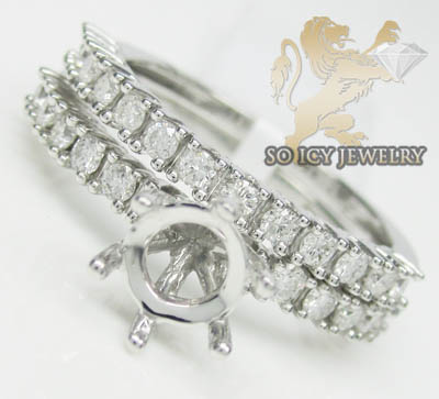 0.85ct 14k White Gold 'round Diamond Semi Mount Ring Set'