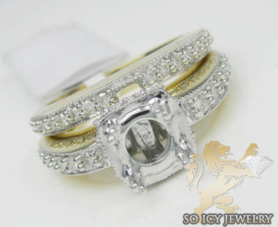 1.00ct 14k Yellow Gold Diamond 'dual Pave Bands Semi Mount Ring'
