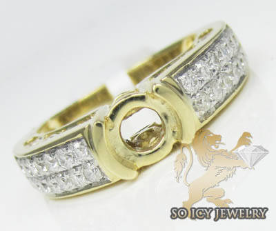 1.50ct 14k Yellow Gold Diamond 'pave Semi Mount Ring'