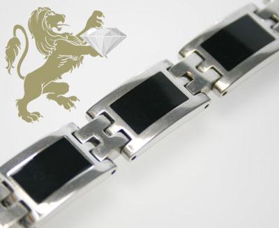White Stainless Steel 'black Onyx Link' Bracelet