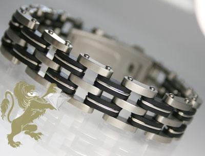 White Stainless Steel & Rubber 'multi Link' Bracelet